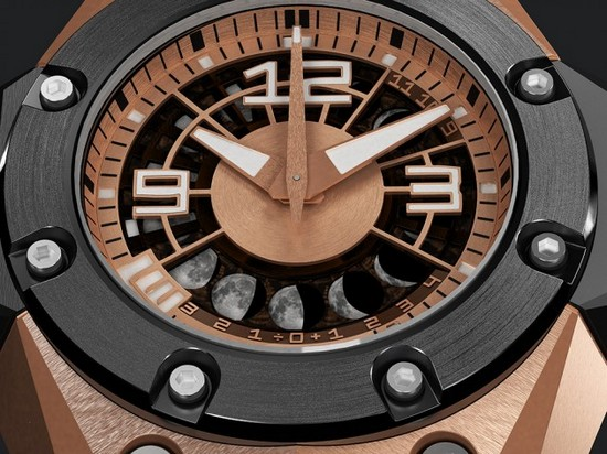 Linde Werdelin Oktopus II Moon Red Gold Watch Dial