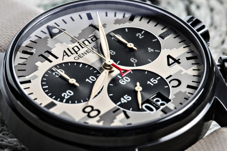 Alpina Startimer Camouflage Pilot Big Date Chronograph Watch Dial