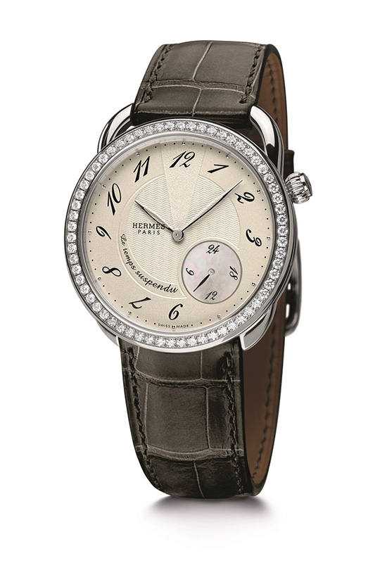 Hermes Arceau Le Temps Suspendu Steel With Diamonds Watch