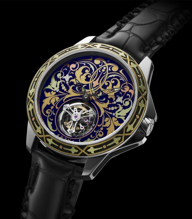 Artya Complications Gold Marquetry Tourbillon Watch