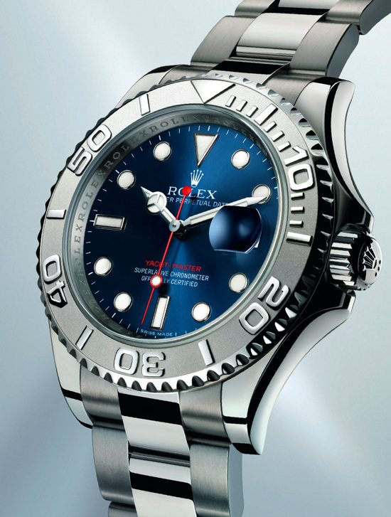 Rolex Yacht Master Stainless and Platinum Blue Dial Watch