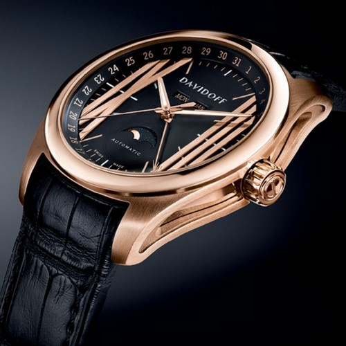 Davidoff Velocity Gent Automatic Moonphase Watch Red Gold