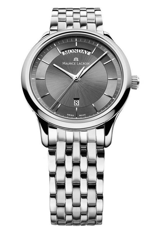Maurice Lacroix Les Classiques Day/Date Watch with Stainless Steel Bracelet