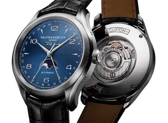 Baume & Mercier Clifton Complete Calendar Moonphase 10057 Watch Front and Back