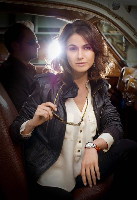 Emmanuelle Chriqui Wearing Baume & Mercier Linea 10115 Watch