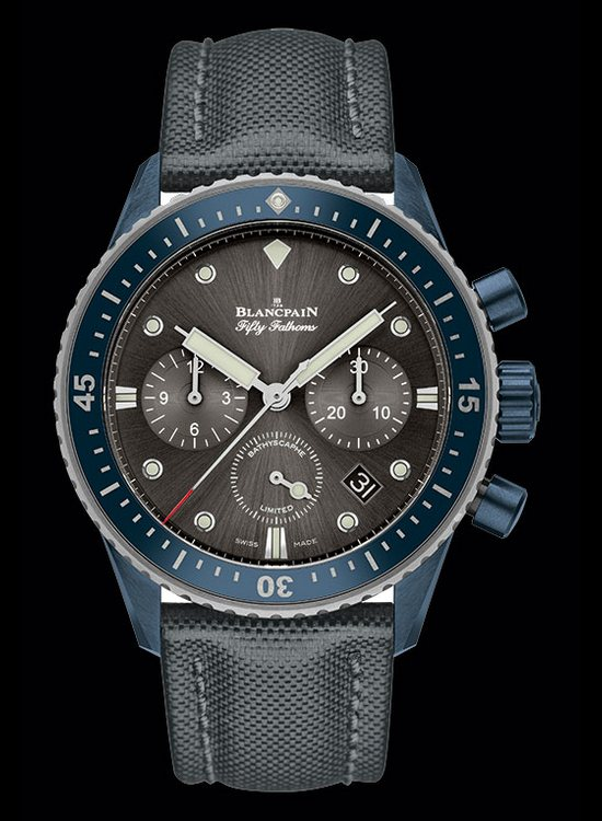 Blancpain Fifty Fathoms Bathyscaphe Chronographe Flyback Ocean Commitment II Watch Front