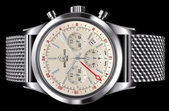 Breitling Transocean Chronograph GMT Watch Silver