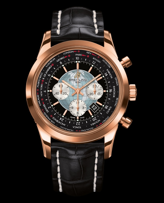 Breitling Transocean Chronograph Unitimer Watch Rose Gold Black Dial