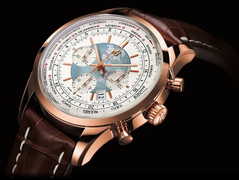 Breitling Transocean Chronograph Unitimer Watch Rose Gold White Dial