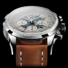 Breitling Transocean Chronograph Unitimer Watch Stainless Steel White Dial