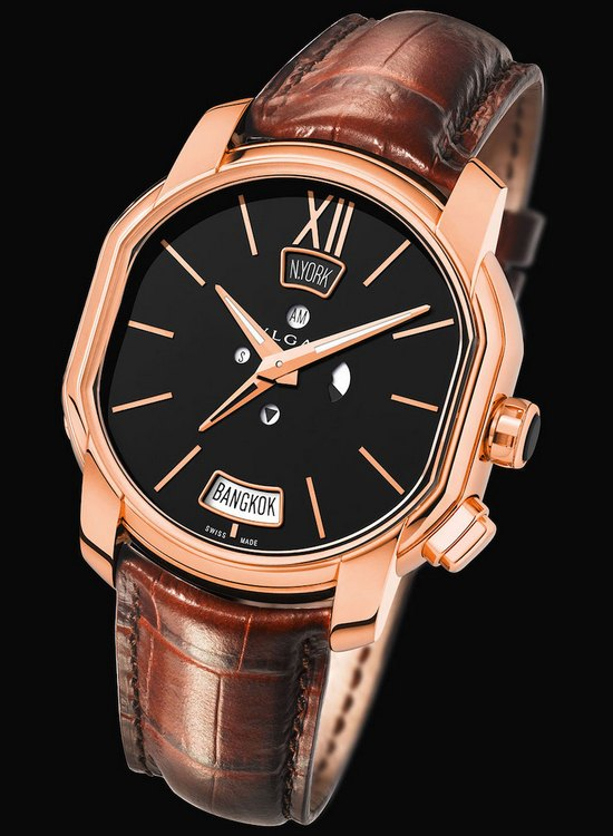 Bulgari Hora Domus Dual Time Zone Watch Black Dial