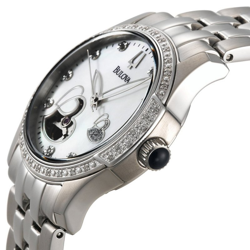 Bulova Mechanical Ladies' Double Heart Motif Round Watch 96R122 Side