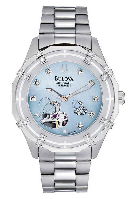 Bulova Mechanical Ladies' Double Heart Motif Round Watch 96R151