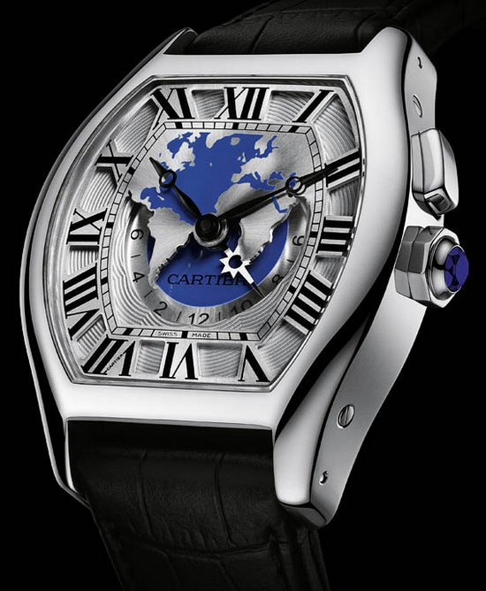 Cartier Tortue XXL Multiple Time Zones Watch White Gold