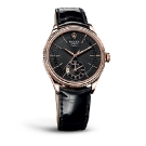 Rolex Cellini Dual Time Everose Black Dial Watch Front