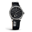 Rolex Cellini Dual Time White Gold Black Dial Watch Front