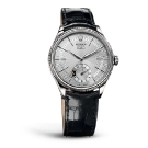 Rolex Cellini Dual Time White Gold Silver Dial Watch Front