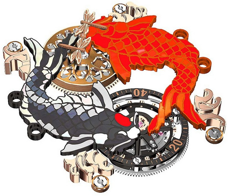 cCvstos Challenge Koi Tourbillon Watch Dial Art
