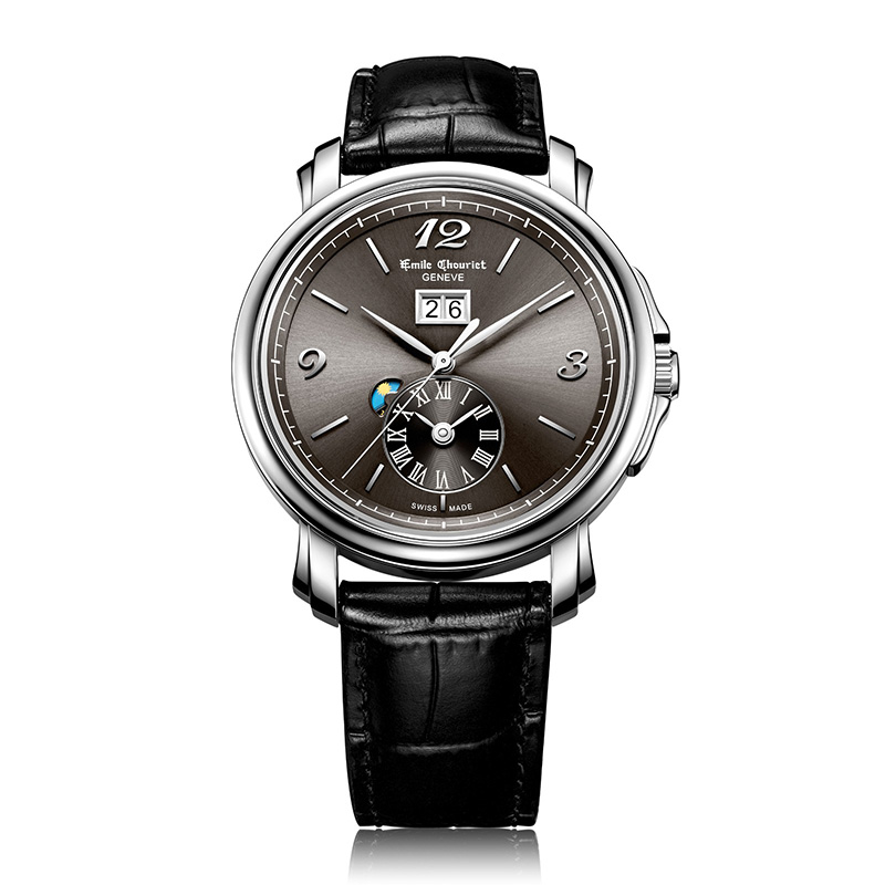 Emile Chouriet Lac Leman Dual Time Grey Dial Watch