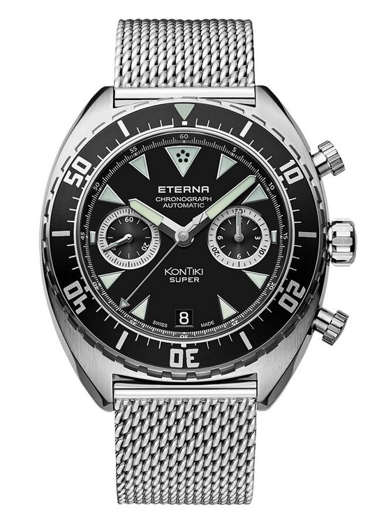 Eterna Super KonTiki Chronograph Watch - Black Dial and Milanese Bracelet