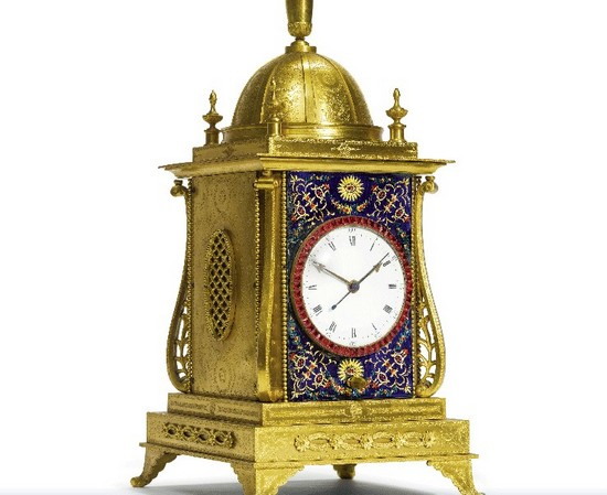 John Mottram Ormolu and Enamel Clock
