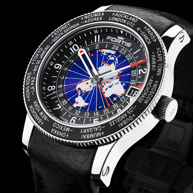 Fortis B-47 World Timer GMT Limited Edition Watch Black 674.21.11