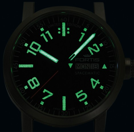 Fortis Spacematic Limited Edition Watch Black Dial Night