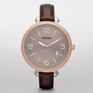 Fossil Heather Leather Watch Dark Brown