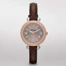 Fossil Heather Mini Leather Watch Dark Brown