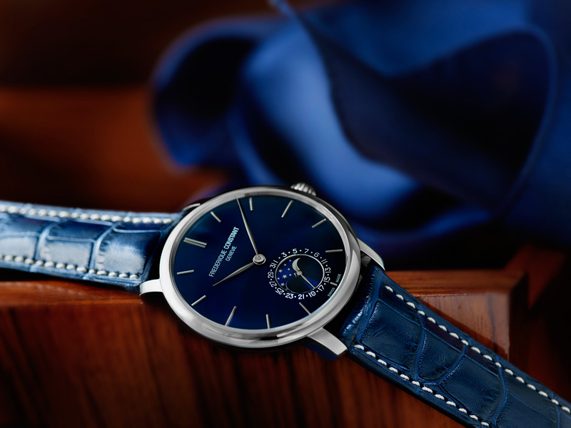 Frédérique Constant Slimline Moonphase Manufacture Navy Blue Dial Watch