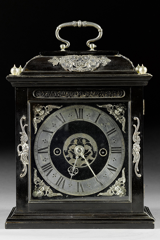 Joseph Knibb Small Silver Mounted Ebony Roman Striking Table Clock