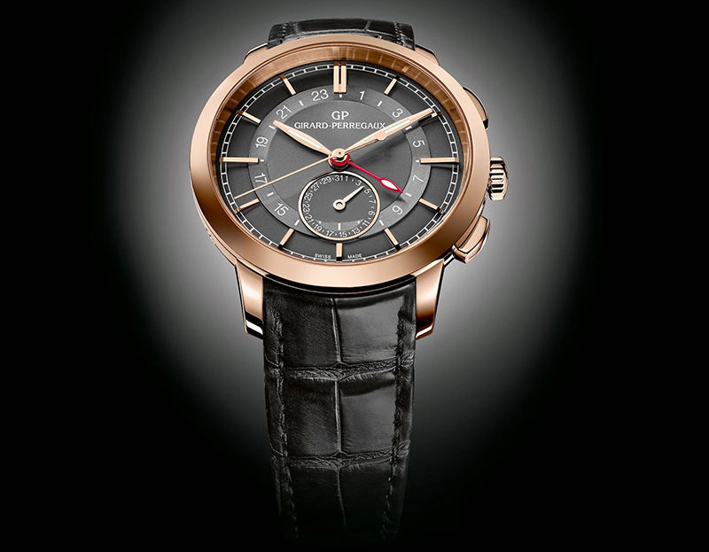 Girard-Perregaux 1966 Dual Time Black Leather Watch