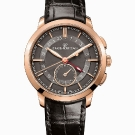 Girard-Perregaux 1966 Dual Time Black Leather Watch Front