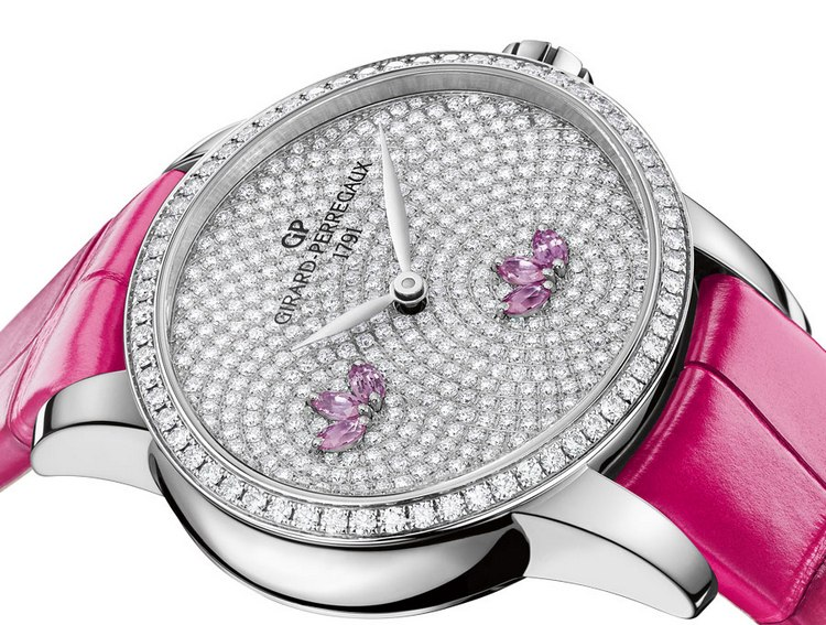 Girard-Perregaux Cats Eye Water Lily Pink Sapphires Watch Dial