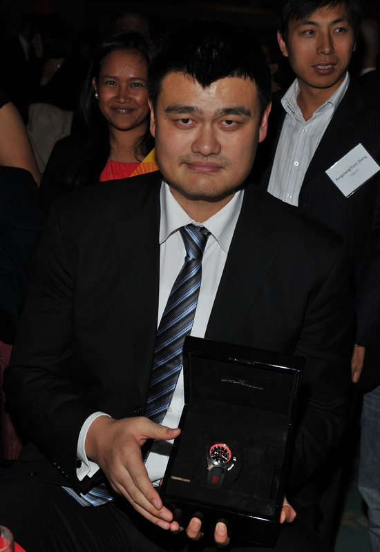 Yao Ming with Girard-Perregaux Chrono Hawk Watch