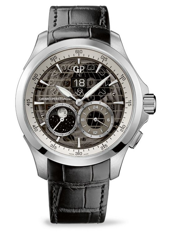 Girard-Perregaux Traveller Large Date, Moon Phases & GMT Watch Stainless Steel