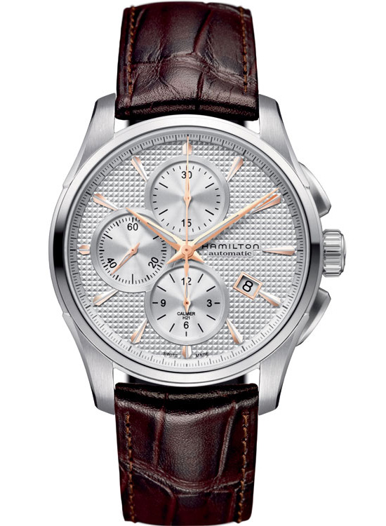 Hamilton Jazzmaster Auto Chrono Watch - Leather Strap and Silver Dial
