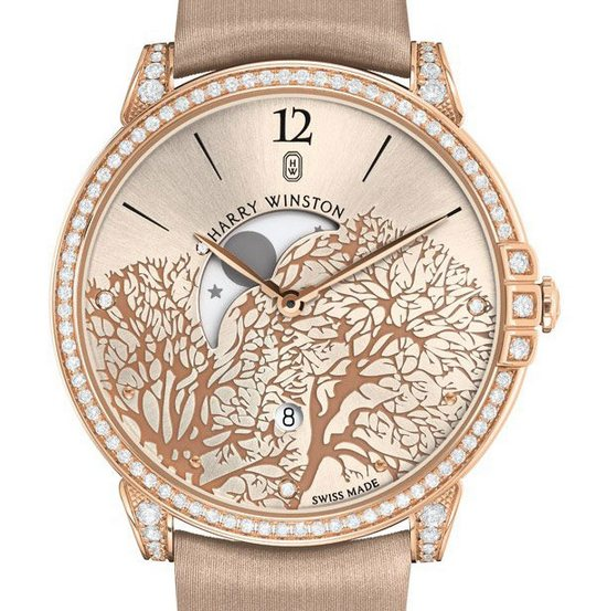 Harry Winston Midnight Moon Phase Watch Rose Gold