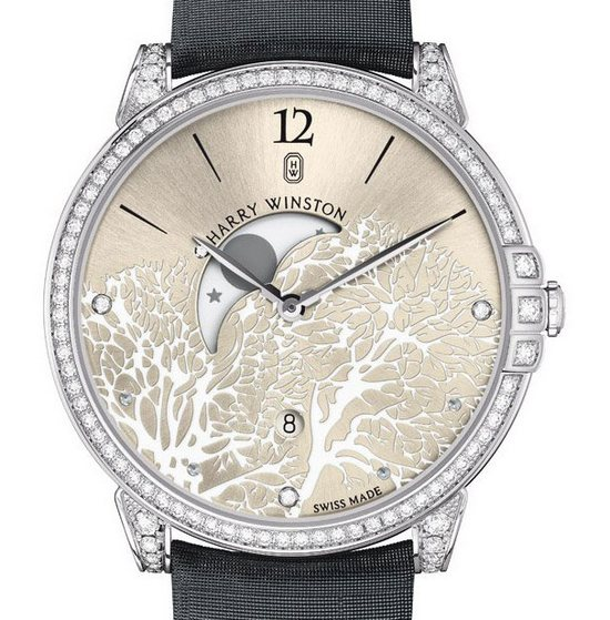 Harry Winston Midnight Moon Phase Watch White Gold