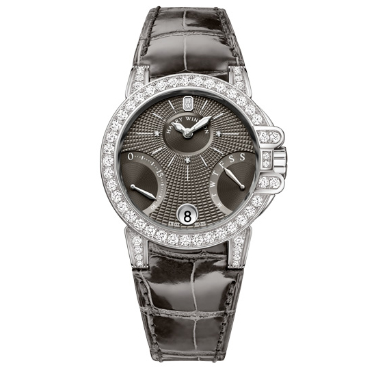 Harry Winston Ocean Biretrograde Watch Black Leather
