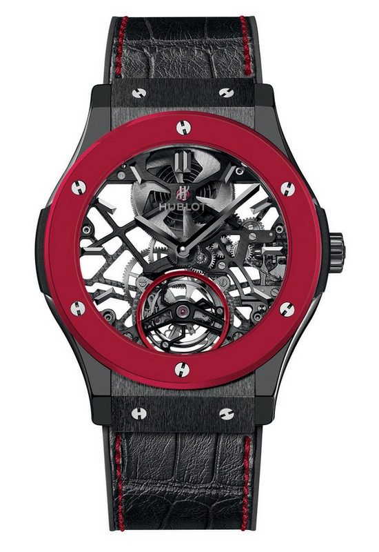 Hublot Classic Fusion Red'n'Black Ceramic Skeleton Tourbillon Watch Front