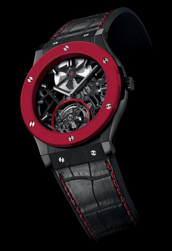 Hublot Classic Fusion Red'n'Black Ceramic Skeleton Tourbillon Watch