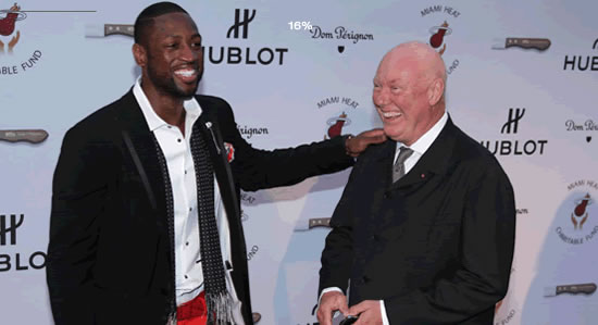 Dwyane Wade and HUBLOT Chairman Jean-Claude Biver