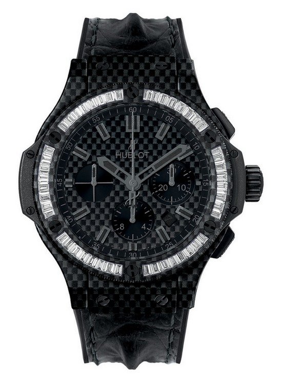 Hublot Big Bang Carbon Bezel Baguette Diamond Watch Front