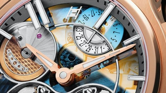 Hysek Verdict Double Tourbillon Sapphire Dial Watch Detail