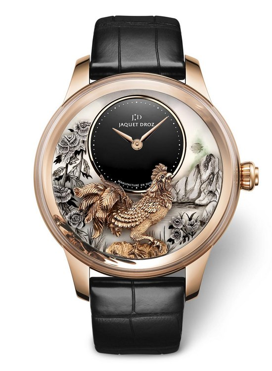 Jaquet Droz Petite Heure Minute Relief Rooster Watch J005023282
