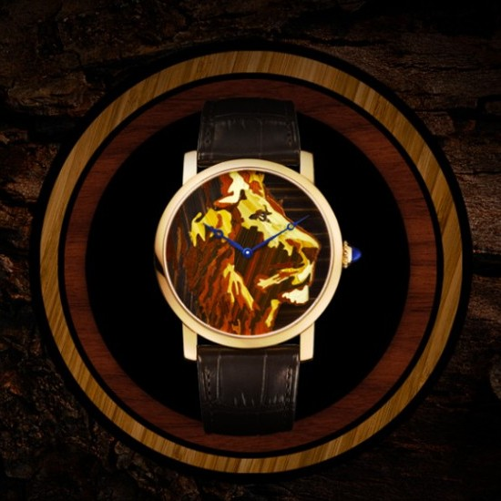 Rotonde de Cartier Straw Marquetry Lion Watch