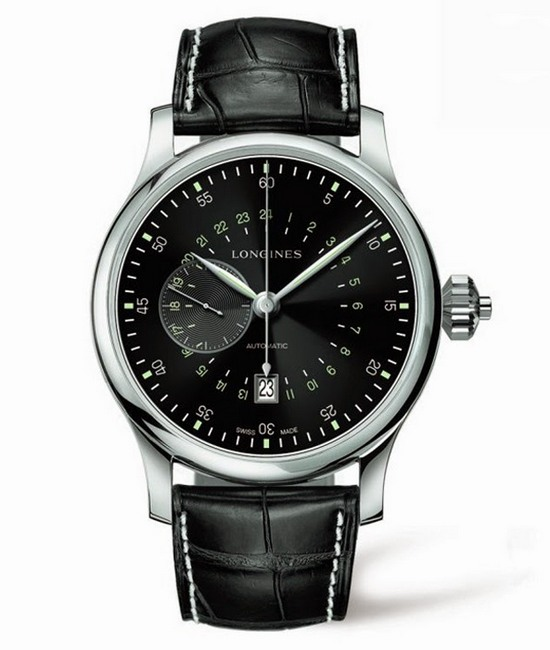 lLongines Twenty-Four Hour Single Push-Piece Chronograph Black Dial Watch