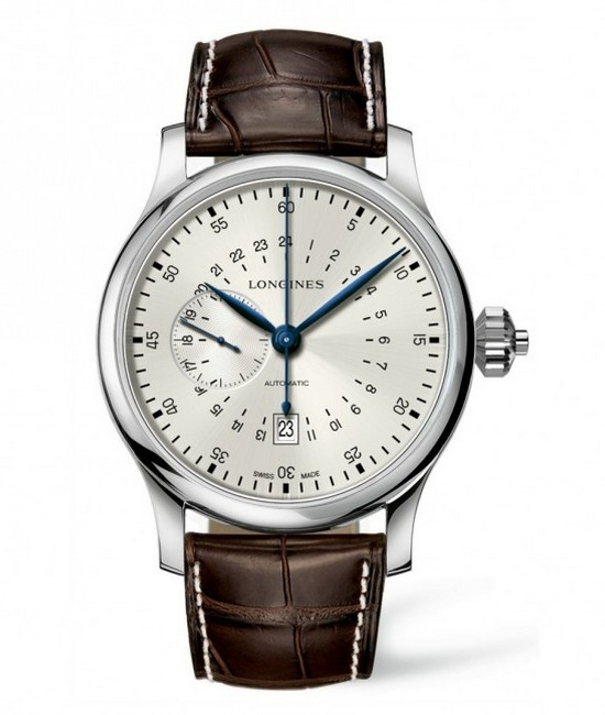 Longines Twenty-Four Hour Single Push-Piece Chronograph Silver Dial Watch