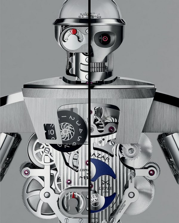 MB&F Balthazar Two-Faced Robot Clock Front and Back